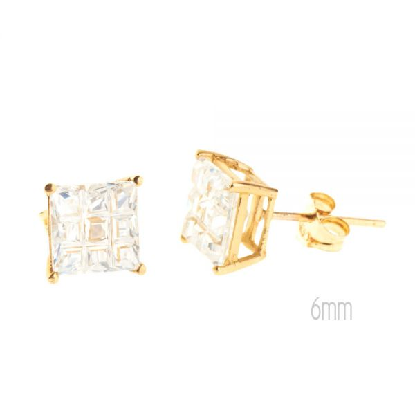 14K Gold Iced Out Stud Ohrstecker - INVISIBLE SQUARE