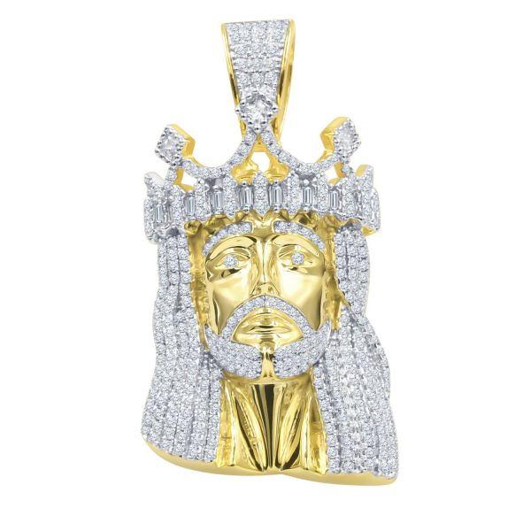 925 Sterling Silver Micro Pave Pendant - CAESAR JESUS gold