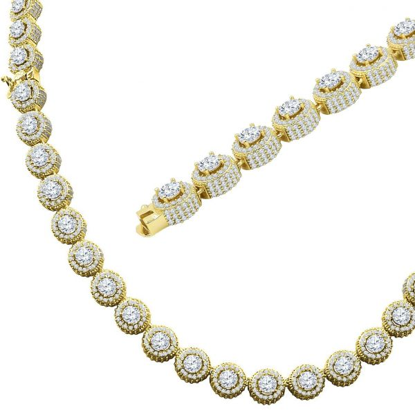 Iced Out Bling Zirconia Tennis Chain - FLUORESCENT 9mm gold