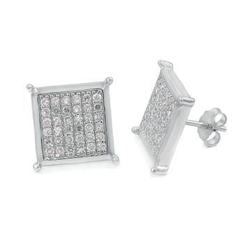 Sterling 92 Silber MICRO PAVE Ohrstecker - STUD 15mm