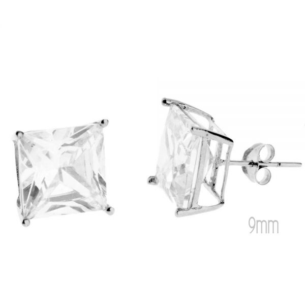 14K Weißgold Iced Out Stud Ohrstecker - PRONG SQUARE