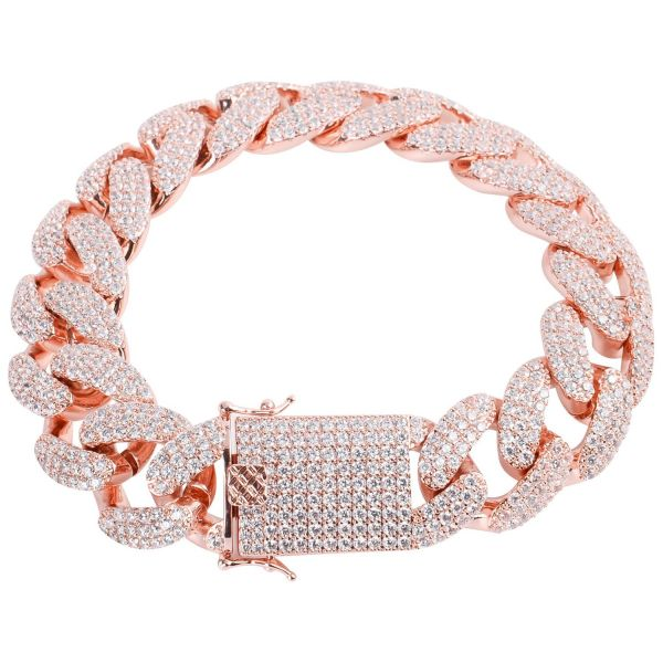 Iced Out Bling CUBAN Panzerkette Armband - 18mm rose gold