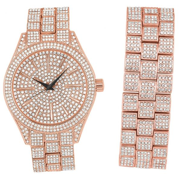 Full Iced Out Bling Uhr Armband Set - rose gold