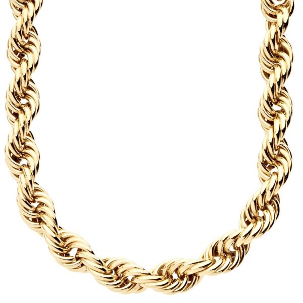 Rope Ying Yang Twisted Gold Chain - 10mm