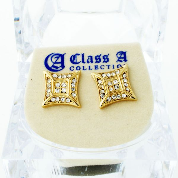 Gold Bling Iced Out Ohrstecker - ULTRA 10mm