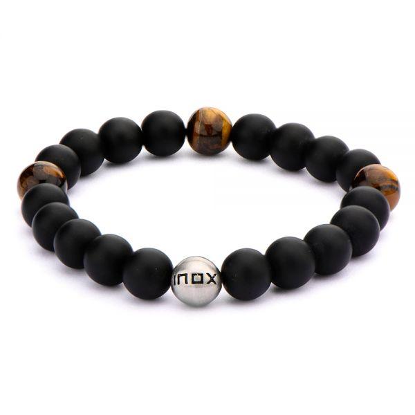 Herren Edelstahl Armband mit Onyxperlen und Tigeraugenholz