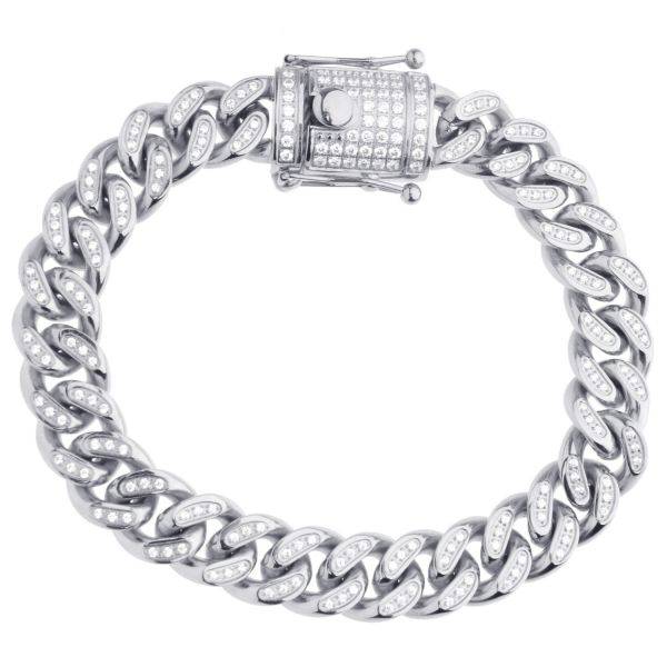 Iced Out Bling Edelstahl Miami Cuban Armband - 12mm