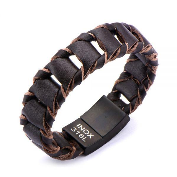 Herren Big Fold Braided Braun Leder Armband