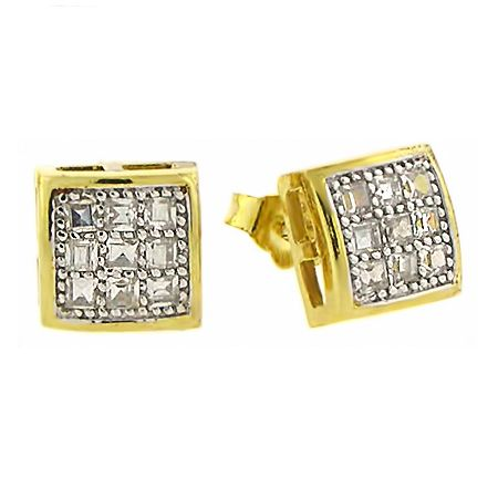 925 Sterling MICRO PAVE Ohrstecker - BARCELONA 8mm gold