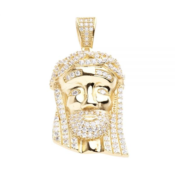 925 Sterling Silber Micro Pave Anhänger - MINI JESUS II gold