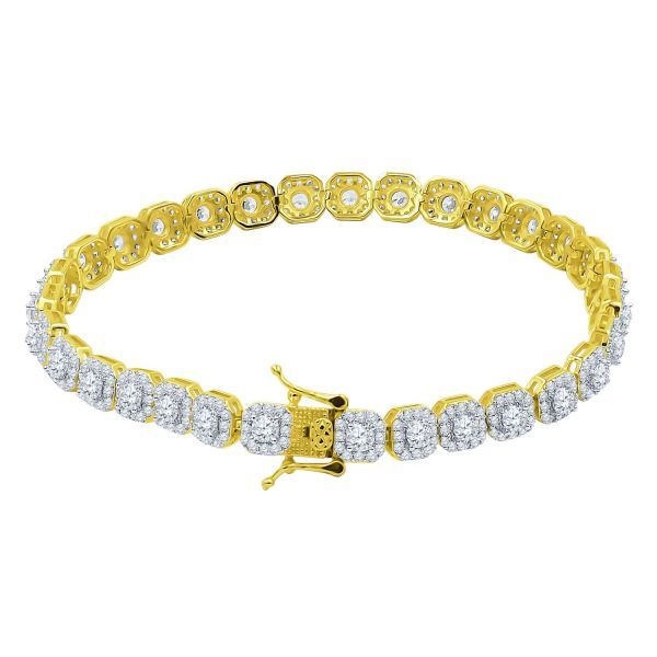 Iced Out Bling SQUARE TENNIS Bracelet - CUBE 6mm gold
