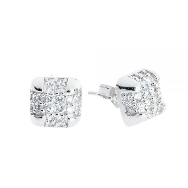 Sterling 925er Silber Ohrstecker - BOX MICRO PAVE 8mm