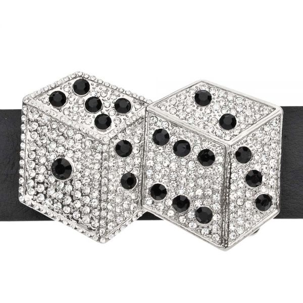 Iced Out Bling Gürtel - DOUBLE DICE silber