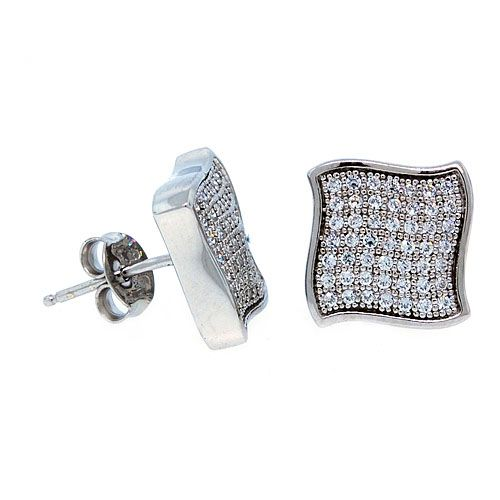 Sterling 925 Silber MICRO PAVE Ohrstecker - WAVE 11mm