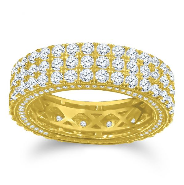 Sterling 925er Silber Micro Pave Ring - SIDE CZ gold
