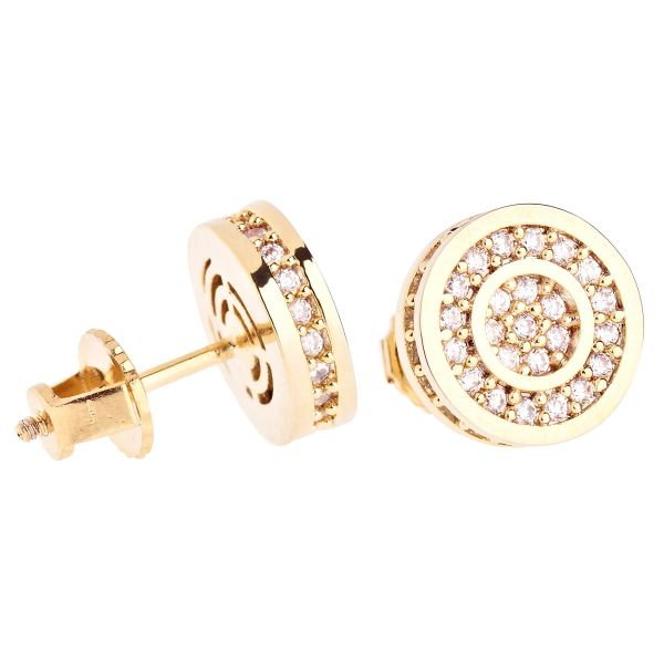 Iced Out Bling Micro Pave Ohrstecker - ROUNDS 10mm gold
