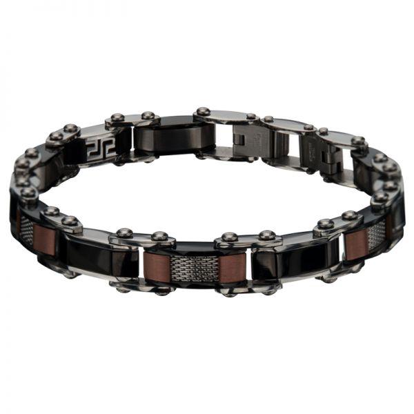 Men's Double Sided IP Black Cappuccino Greek Keys Bracelet