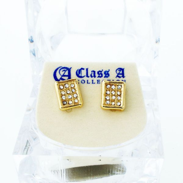 Gold Bling Iced Out Ohrstecker - SQUAD 10mm