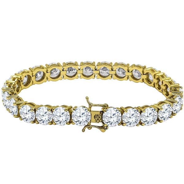 Iced Out Bling High Quality Armband - GOLD 1 ROW 8mm