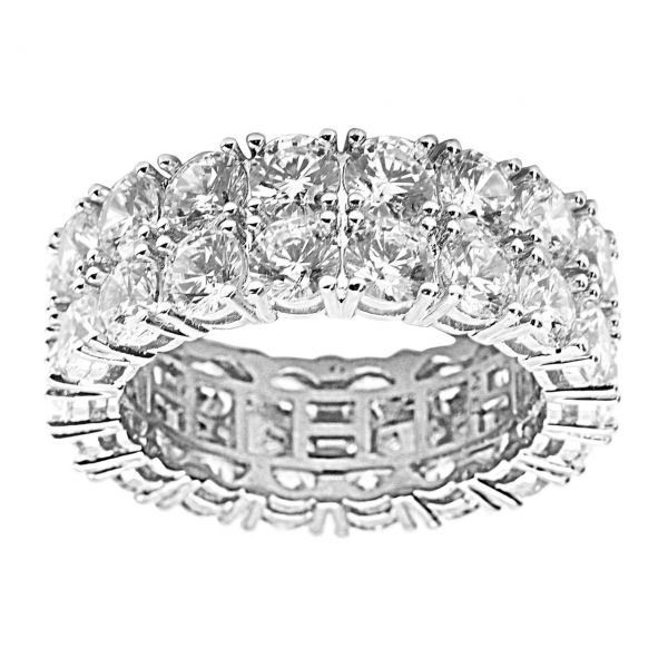 Sterling 925er Silber Micro Pave Ring - DOUBLE ROW