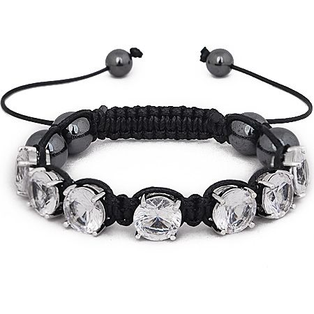 Iced Out Unisex Armband - PRONG SHAMBALLA clear