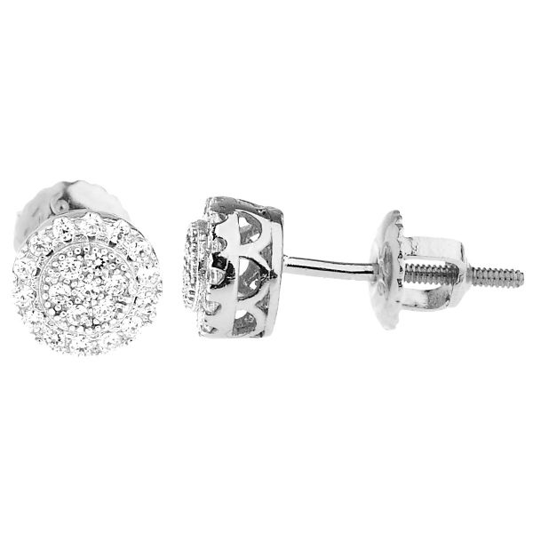 925 Sterling Silber Bling Zirkonia Ohrringe - CLUSTER 6,5mm
