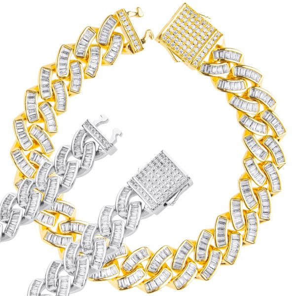 ICED OUT Cuban Link Panzerkette Armband - Baguette 12mm
