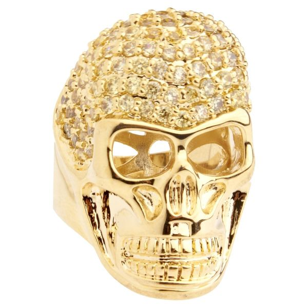 Iced Out Bling Micro Pave Ring - 3D SKULL gold / lemon