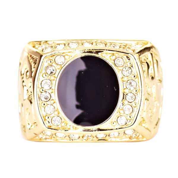 Iced Out Bling Hip Hop Designer Ring - BLACK CENTER gold