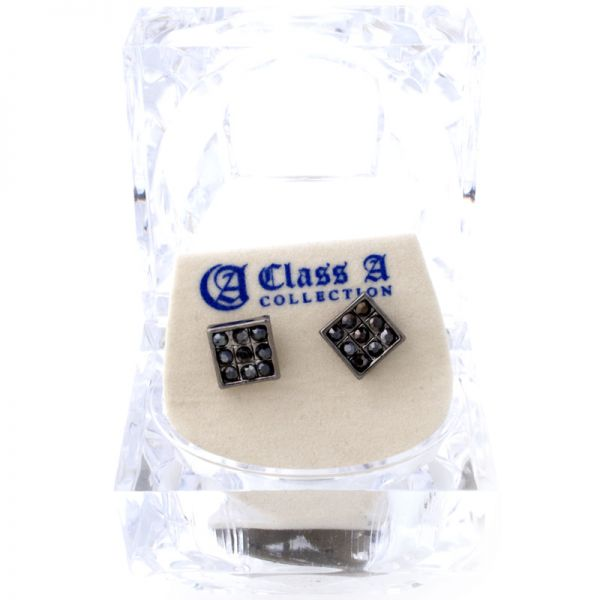 Iced Out Bling Ohrstecker Box - SQUARE black
