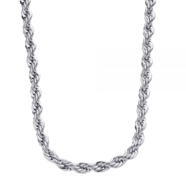 Iced Out Bling Stainless Steel Rope Chain - 4mm 90cm silver