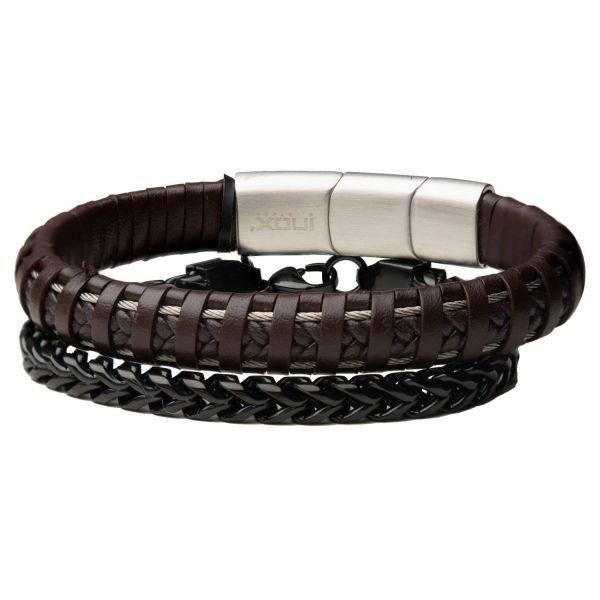 Stax Herren Armbänder - Braunes Leder und Franco-Kette