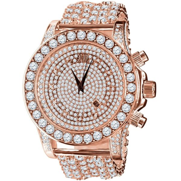 BURNISH High Quality FULL ICED OUT ZIRKONIA Uhr - rose gold