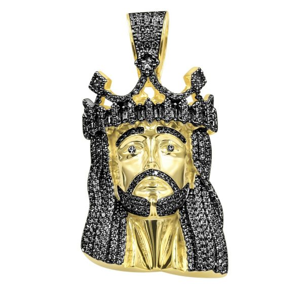 925 Sterling Silver Micro Pave Pendant - CAESAR JESUS gold
