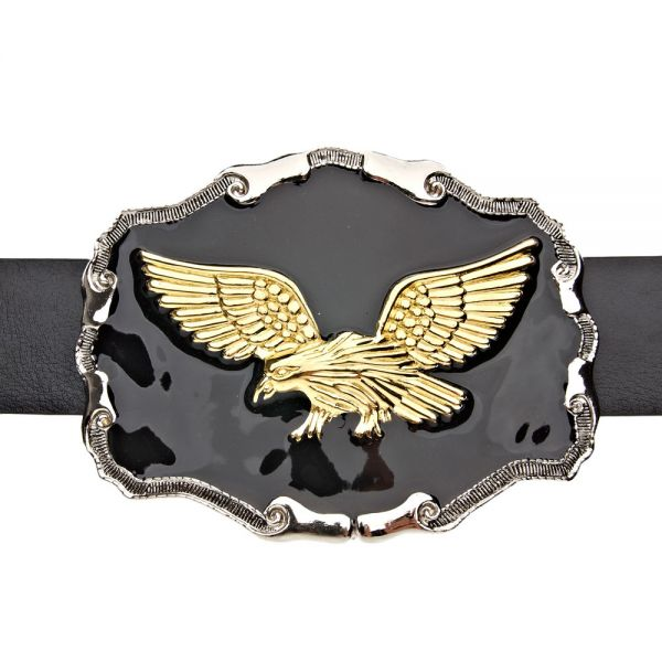 Iced Out Bling BLACK Gold Eagle Adler Gürtel
