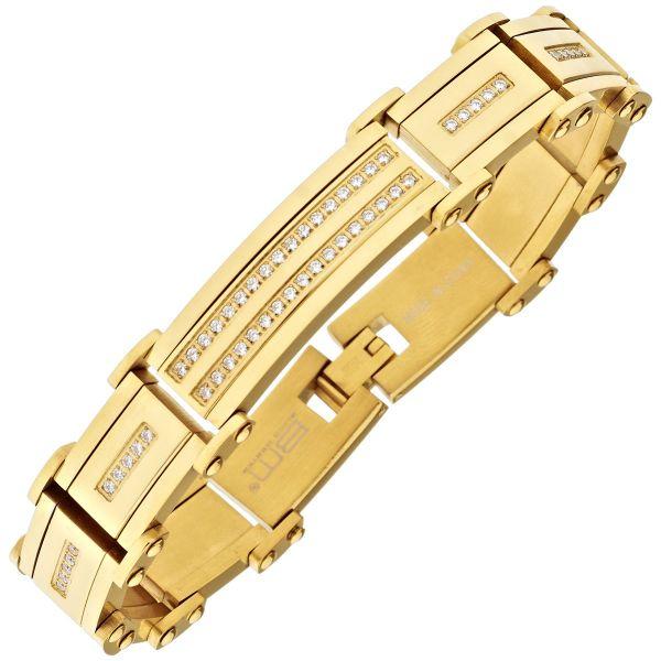 Iced Out Massiv Edelstahl Zirkonia Armband - 16mm gold