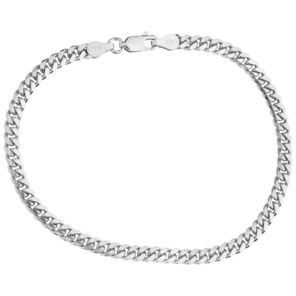 925 Sterling Silver Curb Chain Bracelet - MIAMI CURB 4mm