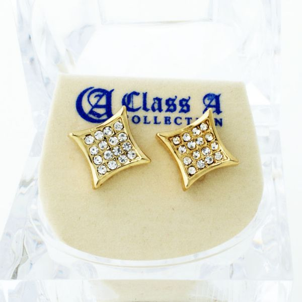 Gold Bling Iced Out Ohrstecker - KITE 8mm