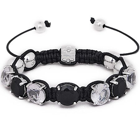 Iced Out Unisex Armband - PRONG Beads schwarz / silber