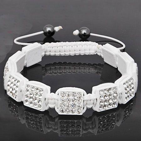 Unisex Bling Beads Armband - SQUARE weiß