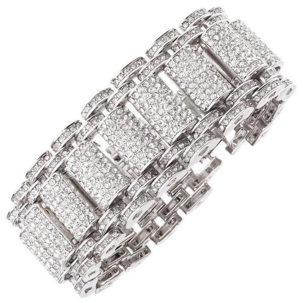 Iced Out Bling Hip Hop Bracelet Armband - KING silber