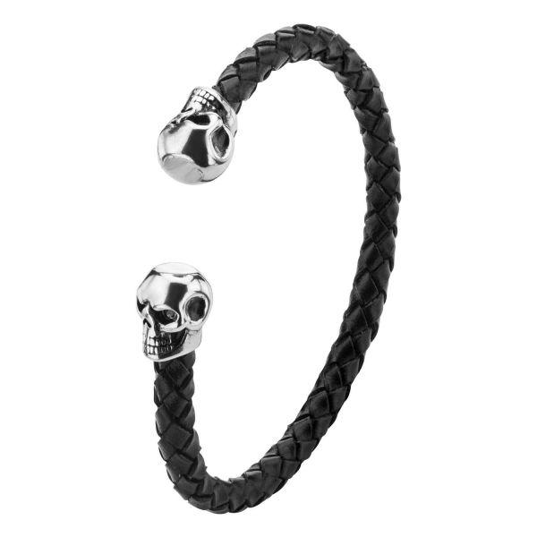 Men's Black Braided Leather Skull Cuff Bracelet