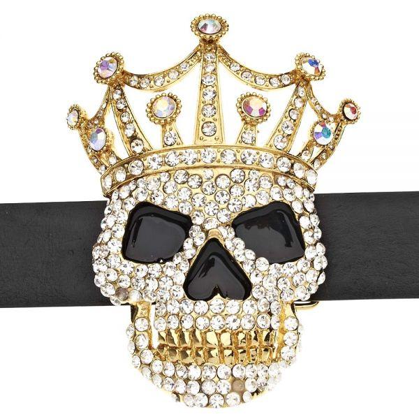 Iced Out Bling Gürtel - XXL Crown Skull gold