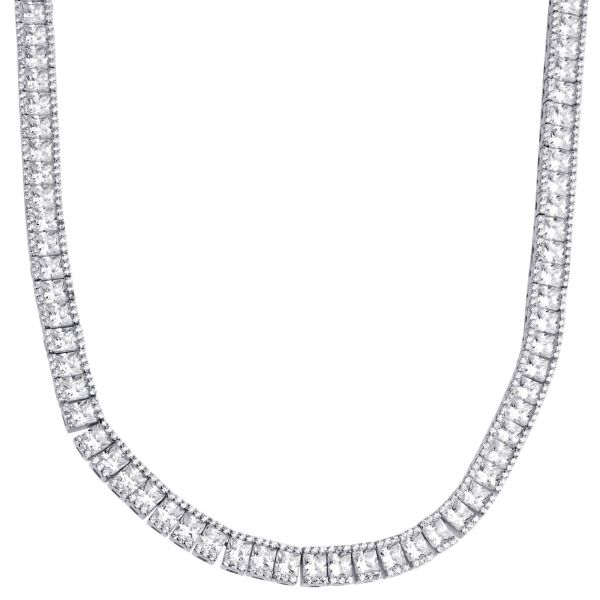 Sterling 925er Silver Square Round CZ Tennis Chain 5mm