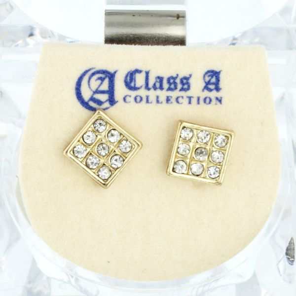 Iced Out Bling Ohrstecker Box - SQUARE gold