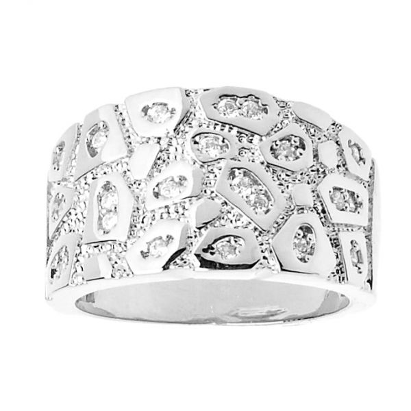 Iced Out Bling Hip Hop Designer Ring - NUGGET silver