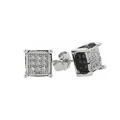 925 Sterling MICRO PAVE Ohrstecker - CHICAGO 6mm silber bk