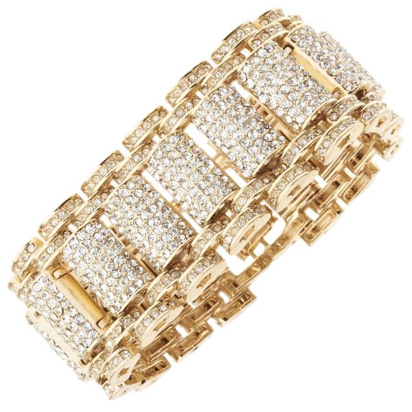 Iced Out Bling Hip Hop Bracelet Armband - KING gold