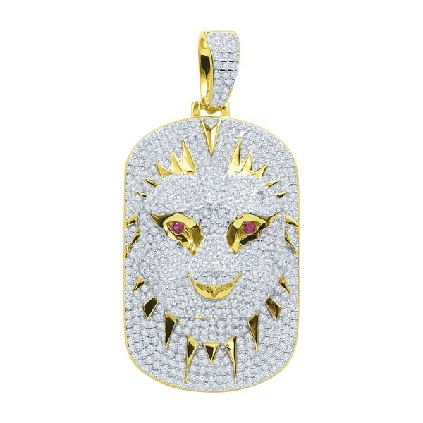925 Sterling Silver 3D Pendant - LION DOG TAG gold