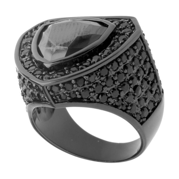 Iced Out Bling Micro Pave Ring - TRILLION schwarz